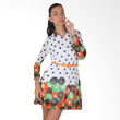 Carte Dress Polkadot Long Sleeve Green Orange with Belt