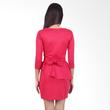 Carte Fuschia Sleeved Peplum Dress