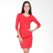 Carte Red Sleeved Peplum Dress