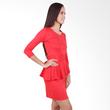 Carte Red Sleeved Peplum Dress