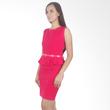 Carte Solid Peplum Dress with Belt - Fuschia