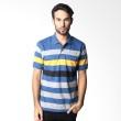 BYTAGO Stripe Short Sleeve 119A Blue Polo Shirt