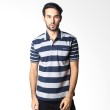 BYTAGO Stripe Short Sleeve 146A Dark Blue Polo Shirt