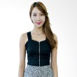 Kakuu Basic Blouse Sleeveless Cropped Tank Top Black