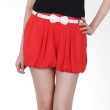 Kakuu Basic Short Pants Belt Set Balloon Shaped Red