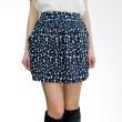 Kakuu Basic Skirt Banding Waist Polkadot Mini Navy