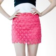 Kakuu Basic Rok Rounded Pattern Lace Deep Pink