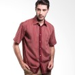 Manly Branton Short Sleeve Striped With Combination Red Kemeja Pria