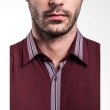 Manly Carlton Regular Fit Striped With Combination Maroon Kemeja Pria