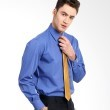 Manly End On End Structured Shirt In Blue Saphire