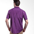 Manly Jarvick Short Sleeve Checked With Combination Purple Kemeja Pria