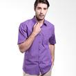 Manly Jeffer Short Sleeve Checked Purple Kemeja Pria