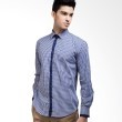 Manly Slim Fit Checked Shirt With Combination In Blue