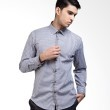 Manly Slim Fit Checked Shirt With Combination In Grey
