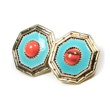 Petite Lola Retro Coral Turquoise Stud Earrings-Clip on